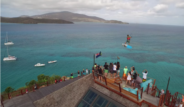Pro kitesurfer launches off Necker Island house