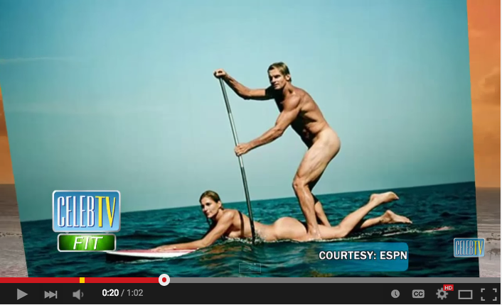 Naked stand up paddleboarding