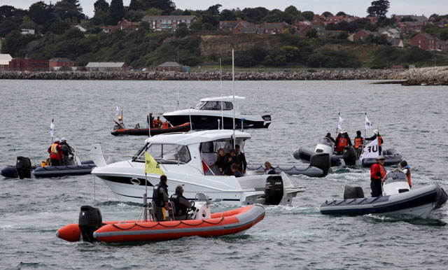 Olympic powerboat fleet on a test day