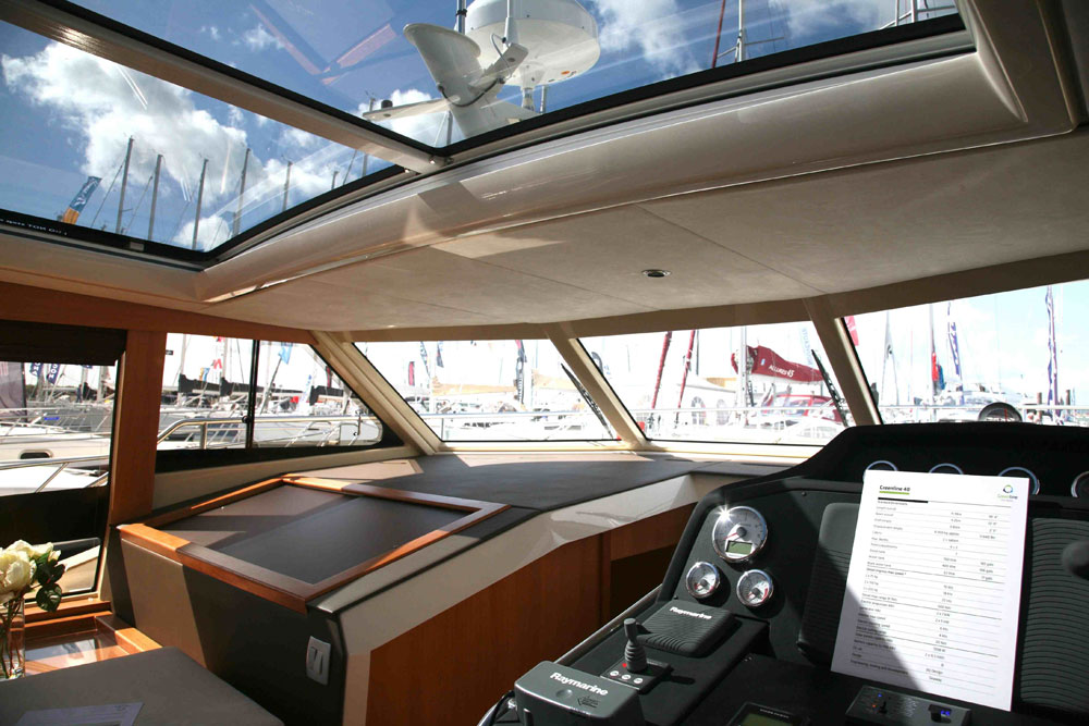 Greenline 40 hybrid power in a cabin cruiser for Large skylights