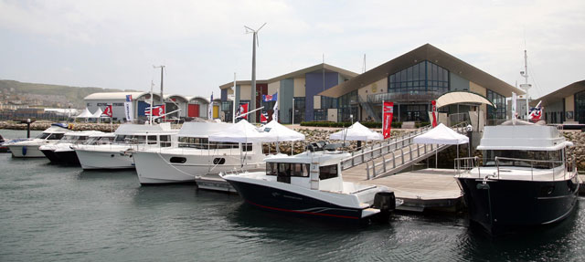The fleet of Beneteau powerboats that will be used for the Olympics
