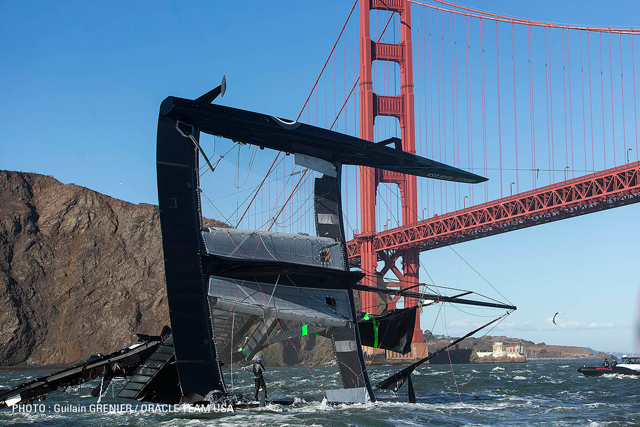 Oracle team USA capsize Golden Gate bridge